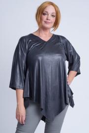 Leather Look Shirt met punt voor (B-119-LL) 020-Dr.Grijs