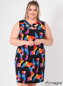 Crossed Detail Dress (C-9030-print) Z50001-Tetris Multi Colors