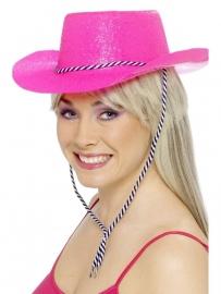 Glitter cowboy hoed neon pink