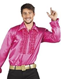 Disco blouse hotpink met roezels