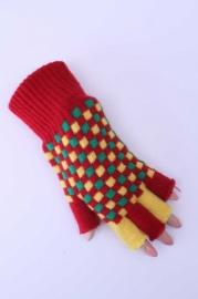 Handschoenen vingerloos rood/groen/geel