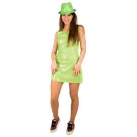 Neon groen pailletten jurkje