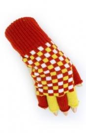 Handschoenen vingerloos rood/wit/geel