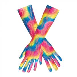 Regenboog handschoenen kant lang