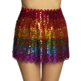 Pailletten mini rokje regenboog