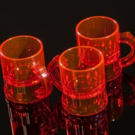 Shotglaasjes 2,5cl. fluor oranje 10 stuks
