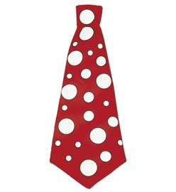 Grote rode clownsstropdas met stippen