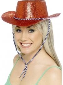 Glitter cowboy hoed rood