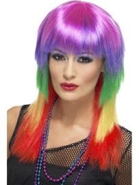 Rainbow rocker pruik