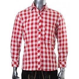Tiroolse trachten blouse rood geblokt