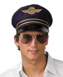 Blauwe pilotenhoed deluxe