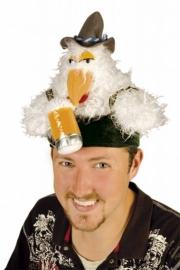 Funcap kip met hoedje en bierpul