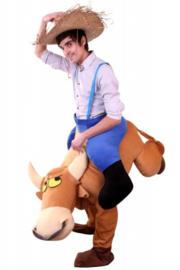 Rijdend op stier kostuum