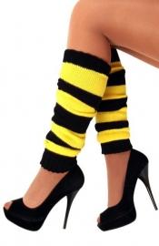 Zwart/gele beenwarmers