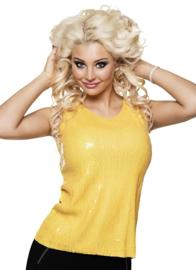 Topje pailletten geel
