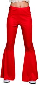 Disco broek wijde pijpen rood