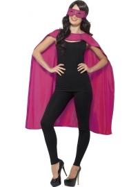 Pink helden cape en masker