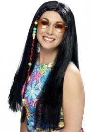Pruik hippie Zwart