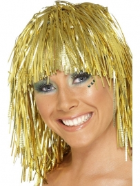 Folie pruik metallic goud