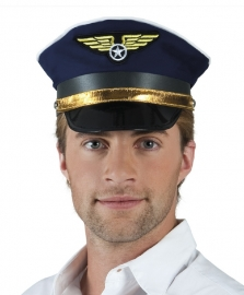 Blauwe pilotenhoed