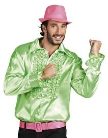 Disco blouse lime groen met roezels