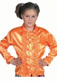 Kinder roezel blouse oranje