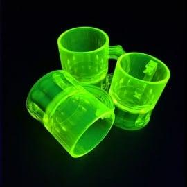 Shotglaasjes 2,5cl. fluor geel 10 stuks