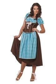 Dirndl jurk lang Aqua