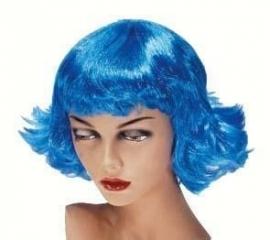Pruik Frenchy Neon Blauw