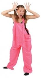Fluor pink tuinbroek kids