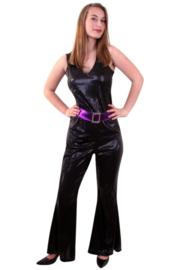 Disco catsuit glitter zwart