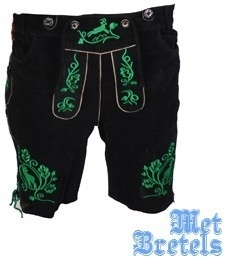 Lederen lederhose Otto zwart/groen