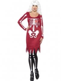 Skeleton jurkje rood met led
