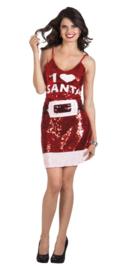Kerstjurkje paillet love Santa