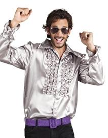 Disco blouse zilver met roezels
