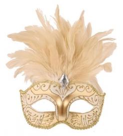 Venetiaans masker pluim wit