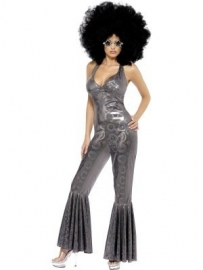 Disco jumpsuit zilver