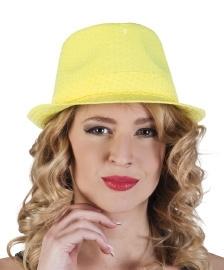 Pailletten hoedje neon geel