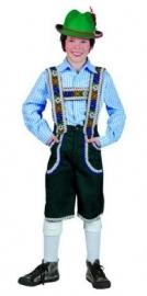 Tiroler geruit overhemd kinderen blauw / wit