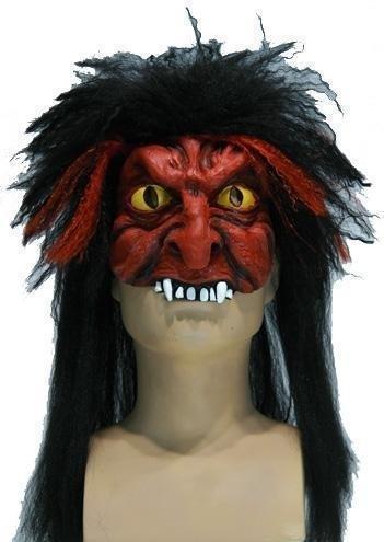 Halfmasker duivel zwart haar