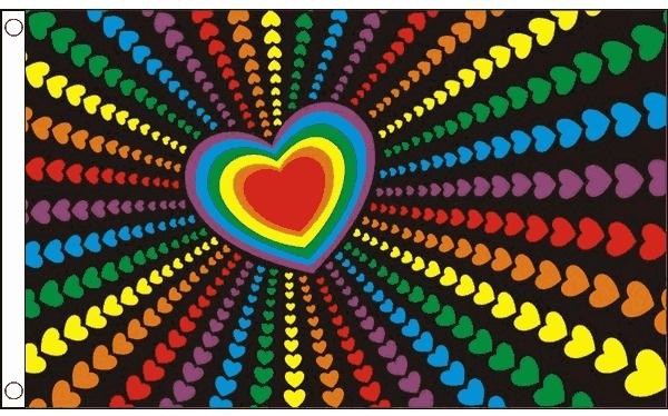 Vlag hartjes regenboog 90x150cm