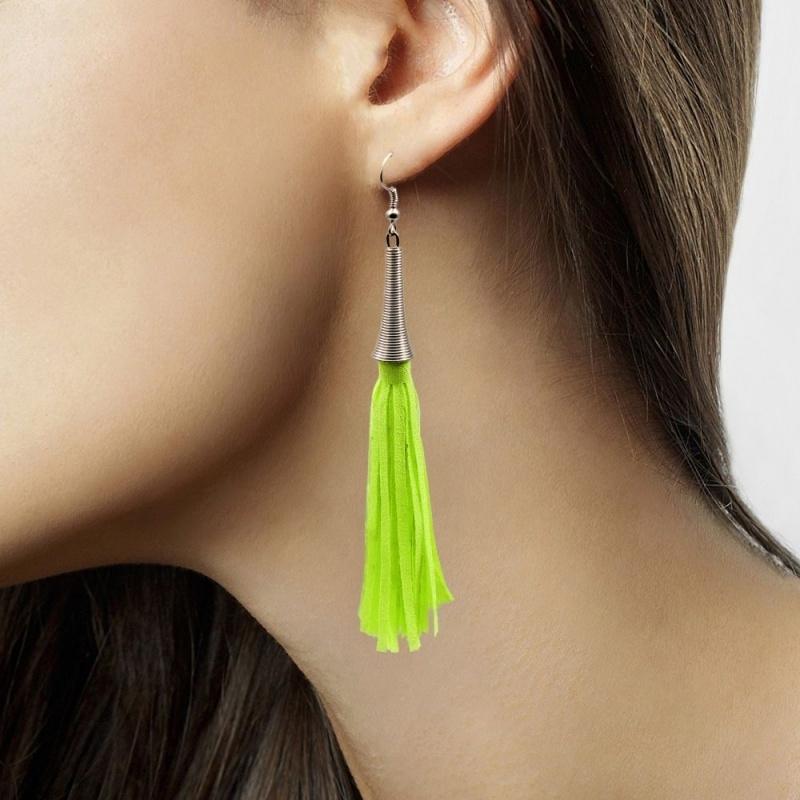 Groene neon oorbellen