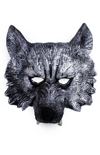 Halfmasker Wolf zilver