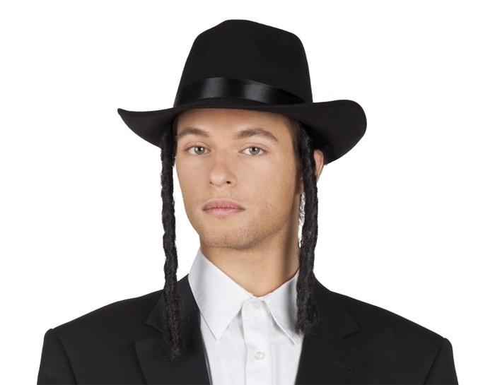 Joodse hoed vilt met pijpenkrullen