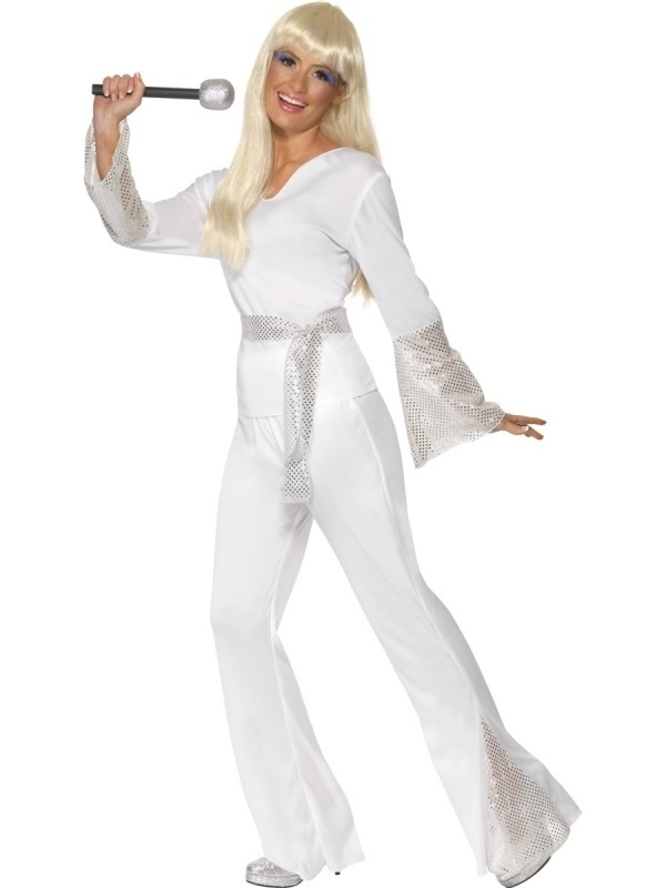 Wit / zilver 70's disco kostuum lady