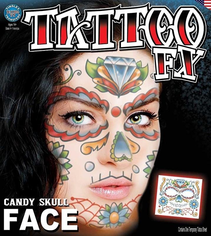 Face Tattoo candy skull