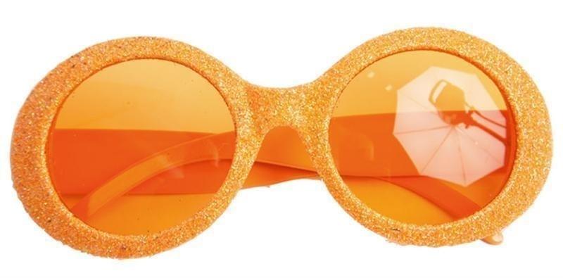 Oranje neonbril met glitters