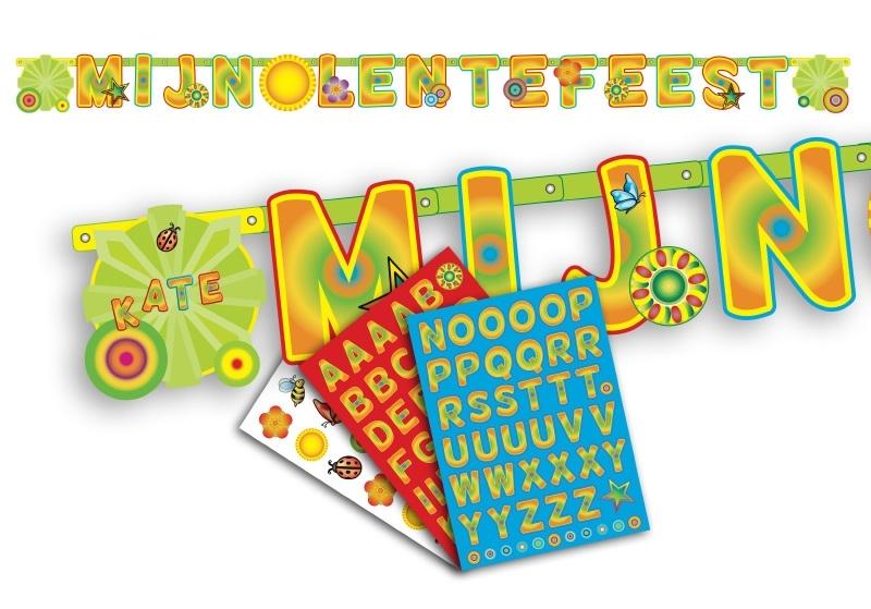 Letterslinger Lentefeest groen/geel/oranje