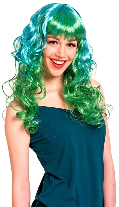 Pruik stylish krullend groen
