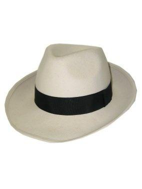 Al capone / gangster hoed wolvilt wit